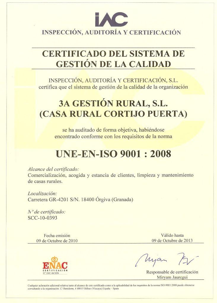 Certificado ISO 9001 Cortijo Puerta