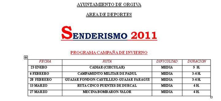 Programa Senderismo Invierno 2011