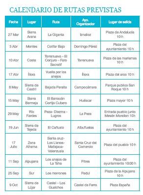 Calendario recorridos en bicicleta 2011